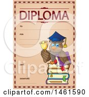 Clipart Of A Diploma Of A Professor Owl Royalty Free Vector Illustration