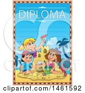 Diploma Of A Group Of Kids Building A Sand Castle On A Beach