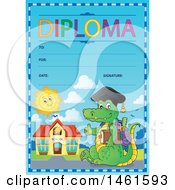 Clipart Of A Diploma Of A Crocodile Student Royalty Free Vector Illustration