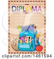 Clipart Of A Diploma Of A School Bag Royalty Free Vector Illustration