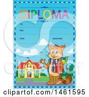 Clipart Of A Diploma Of A Cat Student Royalty Free Vector Illustration