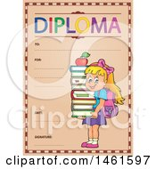 Clipart Of A Diploma Of A School Girl Royalty Free Vector Illustration by visekart