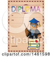 Clipart Of A Diploma Of A Professor Owl Royalty Free Vector Illustration by visekart