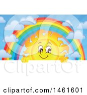 Clipart Of A Summer Time Sun Character And Rainbow Over A Sign Royalty Free Vector Illustration