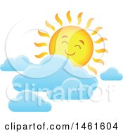 Clipart Of A Summer Time Sun Character And Clouds Royalty Free Vector Illustration