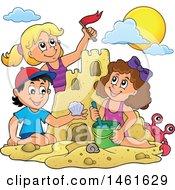 Group Of Kids Building A Sand Castle