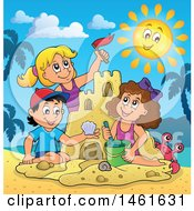 Clipart Of A Group Of Kids Building A Sand Castle On A Beach Royalty Free Vector Illustration by visekart