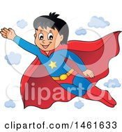 Clipart Of A Flying Super Hero Boy Royalty Free Vector Illustration