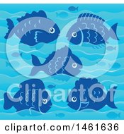 Clipart Of A Background Of Blue Fish And Waves Royalty Free Vector Illustration by visekart