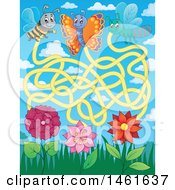 Clipart Of A Bug And Flower Maze Royalty Free Vector Illustration