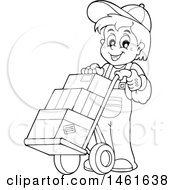 Black And White Worker Moving Boxes On A Dolly Hand Truck