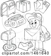 Poster, Art Print Of Black And White Mailman And Accessories