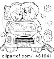 Clipart Of A Black And White Wedding Couple Driving In A Car Royalty Free Vector Illustration by visekart