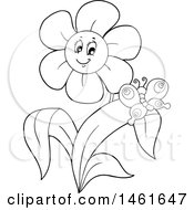 Poster, Art Print Of Black And White Happy Flower And Butterfly
