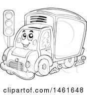 Clipart Of A Black And White Delivery Van Mascot Royalty Free Vector Illustration by visekart