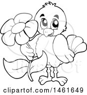 Poster, Art Print Of Black And White Sweet Bird Holding Out A Flower