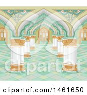 Clipart Of A Palace Interior Background Royalty Free Vector Illustration