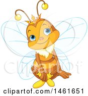 Clipart Of A Cute Queen Bee Sitting Royalty Free Vector Illustration