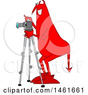 Chubby Red Devil Photographer Using A Camera On A Tripod