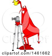 Chubby Red Devil Photographer Holding A Rubber Duck And Using A Camera On A Tripod