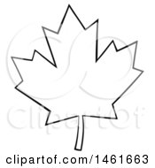 Clipart Of A Black And White Canadian Maple Leaf Outline Royalty Free Vector Illustration by Hit Toon