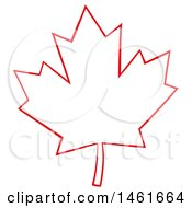 Clipart Of A Red Outlined Canadian Maple Leaf Royalty Free Vector Illustration by Hit Toon