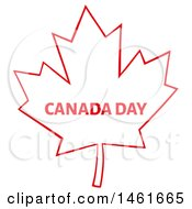 Clipart Of A Red Maple Leaf With Canada Day Text Royalty Free Vector Illustration by Hit Toon