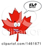 Clipart Of A Talking Red Canadian Maple Leaf Mascot Character Saying Eh Royalty Free Vector Illustration by Hit Toon