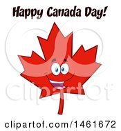 Clipart Of A Red Maple Leaf Mascot Character With Happy Canada Day Text Royalty Free Vector Illustration by Hit Toon