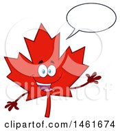 Clipart Of A Talking And Waving Red Canadian Maple Leaf Mascot Character Royalty Free Vector Illustration by Hit Toon