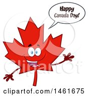 Clipart Of A Talking And Waving Red Maple Leaf Mascot Character Saying Happy Canada Day Royalty Free Vector Illustration by Hit Toon