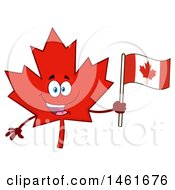 Poster, Art Print Of Red Maple Leaf Mascot Character Holding A Canadian Flag
