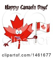 Clipart Of A Red Maple Leaf Mascot Character Holding A Flag Under Happy Canada Day Flag Royalty Free Vector Illustration by Hit Toon