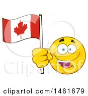 Clipart Of A Happy Emoji Emoticon Holding A Canadian Flag Royalty Free Vector Illustration by Hit Toon