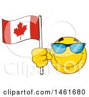 Clipart Of A Happy Emoji Emoticon Wearing Sunglasses And Holding A Canadian Flag Royalty Free Vector Illustration by Hit Toon