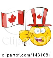 Clipart Of A Happy Emoji Emoticon Holding A Canadian Flag And Wearing A Top Hat Royalty Free Vector Illustration by Hit Toon