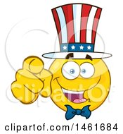 Clipart Of A Emoji Smiley Face Uncle Sam Pointing At You Royalty Free Vector Illustration by Hit Toon