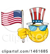 Clipart Of A Emoji Smiley Face Uncle Sam Waving An American Flag Royalty Free Vector Illustration