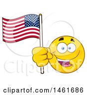 Clipart Of A Emoji Smiley Face Waving An American Flag Royalty Free Vector Illustration by Hit Toon