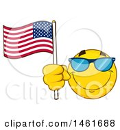 Clipart Of A Emoji Smiley Face Waving An American Flag Royalty Free Vector Illustration