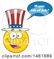 Emoji Smiley Face Uncle Sam Wearing A Top Hat Saying Happy 4th Of July