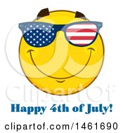Clipart Of A Emoji Smiley Face Wearing American Flag Sunglasses Royalty Free Vector Illustration