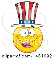 Clipart Of A Emoji Smiley Face Uncle Sam Wearing A Top Hat Royalty Free Vector Illustration