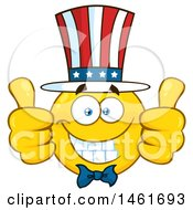 Clipart Of A Emoji Smiley Face Uncle Sam Giving Two Thumbs Up Royalty Free Vector Illustration