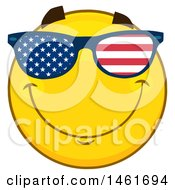 Clipart Of A Emoji Smiley Face Wearing American Flag Sunglasses Royalty Free Vector Illustration by Hit Toon
