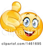 Clipart Of A Female Emoji Giving A Thumb Up Royalty Free Vector Illustration