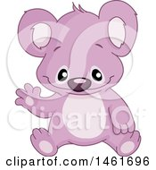 Clipart Of A Purple Baby Koala Sitting And Waving Royalty Free Vector Illustration