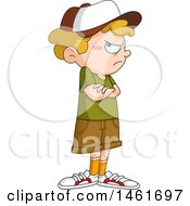 Clipart Of A Stubborn Blond Caucasian Boy Standing With Folded Arms Royalty Free Vector Illustration