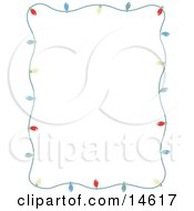 Stationery Frame Of Colorful Christmas Lights Bordering A White Background Retro Clipart Illustration