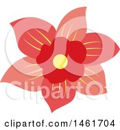 Clipart Of A Red Flower Royalty Free Vector Illustration